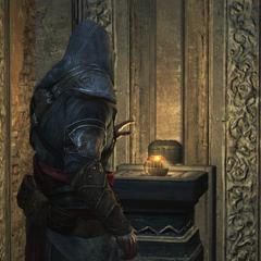 Ezio Auditore discovering Altaïr's Apple
