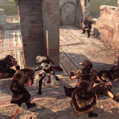 Ezio affrontant les Adeptes de Romulus