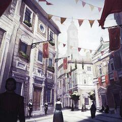 Concept art van een renaissance district.