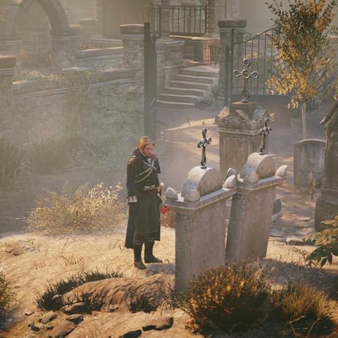 Arno se recueillant sur la tombe d'Élise