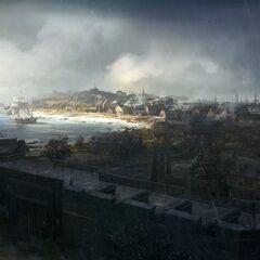 Concept art of the Boston Harbor