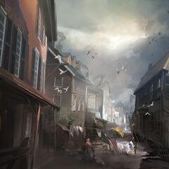Concept art of a Boston alley