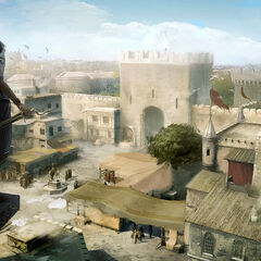 The Vanguard, looking over the city of Rhodes from above