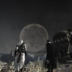 <b>Altaïr</b>, Malik et les autres Assassins contemplant l'hologramme