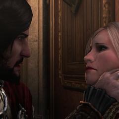 切萨雷要求卢克雷齐娅说出苹果的位置