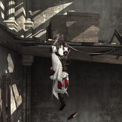 Ezio, suspendu à une poutre manquant de s'effondrer