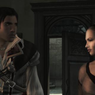 Ezio parlant avec <b>Annetta</b> a la Rose Cueillie