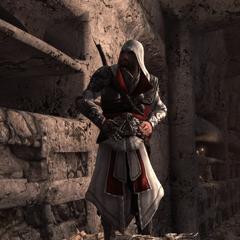 Ezio gaat de catacomben binnen.