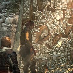 玛丽向爱德华展示一个在图鲁姆的神殿入口
