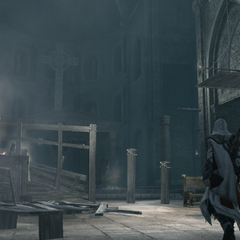 Ezio binnen de basiliek.