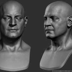 年轻的德·拉塞尔的头部模型