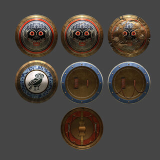 Concept art of shields in <i>Odyssey</i>