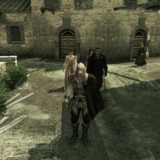 Ezio krijgt een rondleiding door Monteriggioni