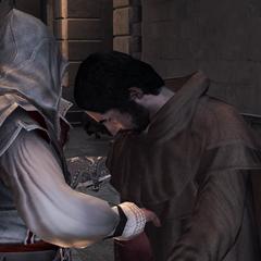 Ezio soudoyant un <b>héraut</b>.