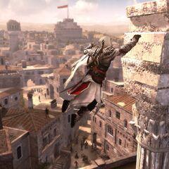 Ezio s'agrippant à une colonnade