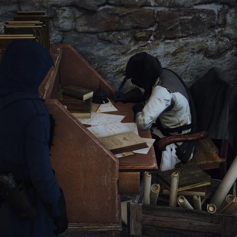Arno s'informant auprès d'un Assassin