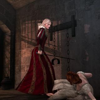 Lurezia verwondt Caterina Sforza.