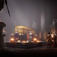 César et ses alliés dans le tombeau d'Alexandre