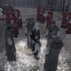 Ezio verbergt zich tussen de kardinalen.