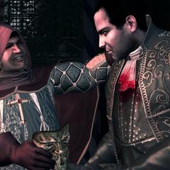 西尔维奥将黄金面具交给但丁