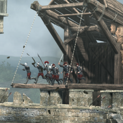 Les soldats des Borgia sur les remparts