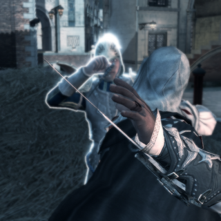 Ezio assassinant le chasseur de prime