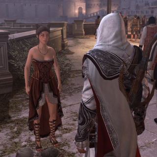 Ezio speaking with a courtesan in Rome