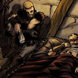 阿克齊皮特坐在受傷的阿奎盧斯身邊