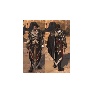Ezio avec <b>l'armure d'Altaïr</b> mais sans la capuche.