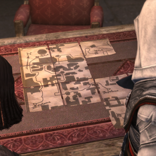 Salaì and Ezio arranging the pieces of the map