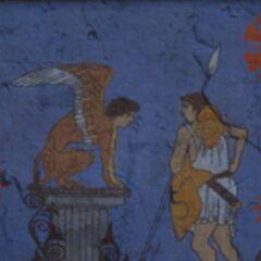 公元前5世纪的一幅描绘俄狄浦斯和斯芬克斯的壁画