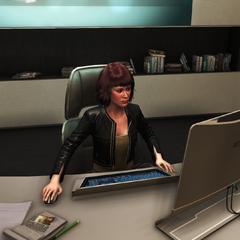 梅兰妮在她的办公室内工作