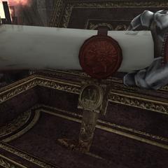 Ezio récupérant le parchemin