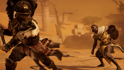 Bayek clashing with Hypatos