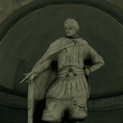 La statue de <b>Darius</b> dans la crypte sous la villa Auditore