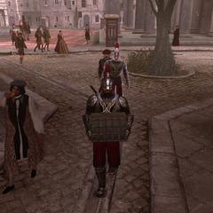 Ezio menant les gardes au Banquier, déguisé en Luigi