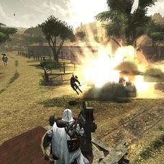 Ezio détruisant un stock de poudre
