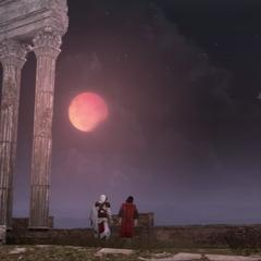 Ezio en Copernicus observeren de verduistering.