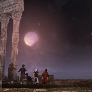 Ezio and Copernicus observing the eclipse