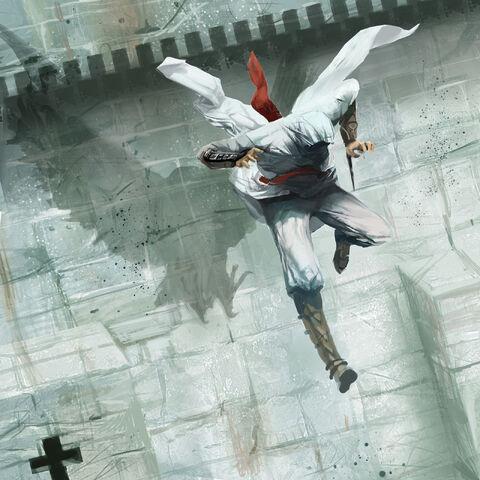 强调刺客袍子与鹰相似的剪影的概念艺术图