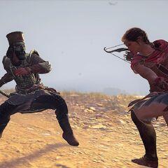 卡珊德拉与上古维序者波斯分册的一名精英守卫展开战斗