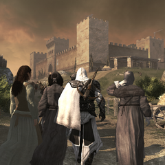 埃齐奥混在人群中前往堡垒