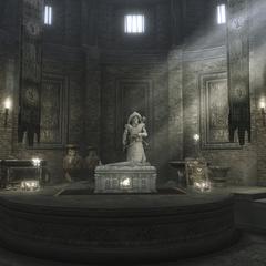 La statue de Qulan Gal et son sarcophage
