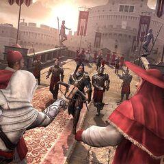 Ezio tirant à l'arbalète sur Octavien de Valois