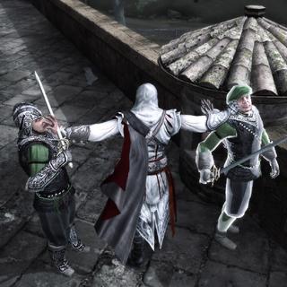 Ezio assassinant les deux derniers gardes