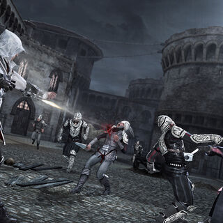 Ezio fighting alongside Niccolò