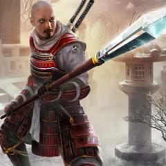 Hanzō maniant une lance