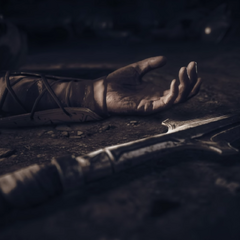 破碎的长矛躺在刚刚死去的列奥尼达斯身旁