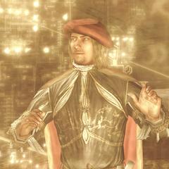 Leonardo da Vinci observing the designs projected by Ezio's Apple