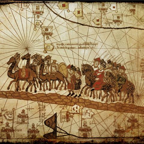 一幅描绘马可·波罗商队的画